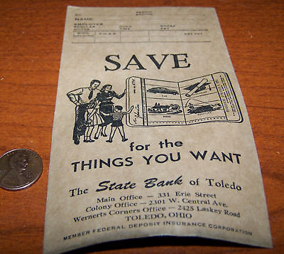 the state bank of toledo savings envelope vintage item
