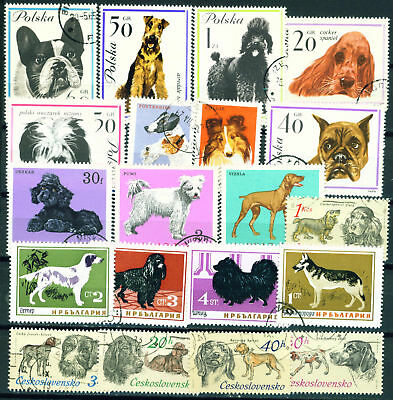 Fauna Dogs East Europe old stamps lot