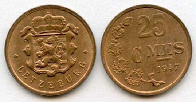 Luxembourg 1947 25 Centimes Uncirculated (KM45)