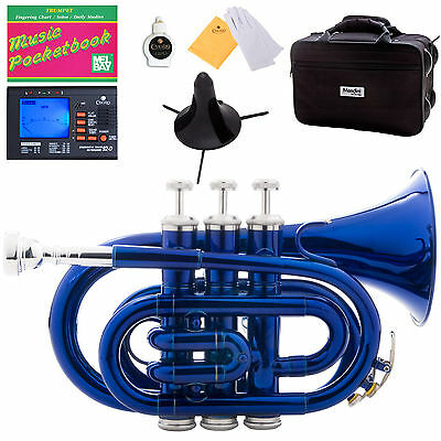 Mendini Blue Lacquer Mini / Pocket Trumpet +Tuner+Stand+Case