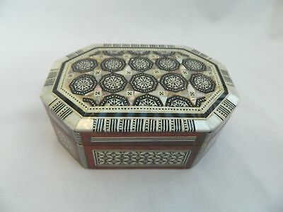 "Egyptian Wood Handmade Octagonal Mother of Pearl Jewelry Box 5.5"" X 3.5"" #530"
