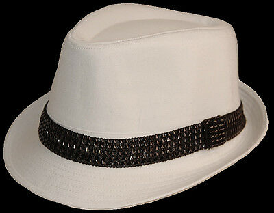 1 FEDORA TRILBY GANSTER PARTY DANCE HAT kid S M L White
