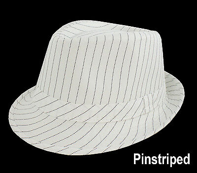 1 FEDORA GANGSTER Michael Jacson PARTY DANCE HAT Pin Striped Pinstripe White