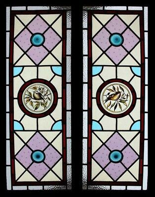English Antique Victorian Painted Birds Of Beauty Stained Glass Windows