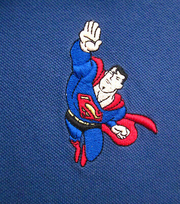 SUPERMAN embroidery flying USA youth XL polo shirt DC Comics classic kids 2001