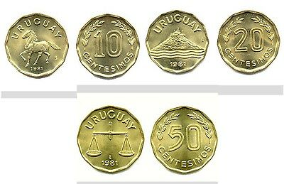 Uruguay 1981 10 & 20 & 50 Centesimos 3 Uncirculated Coin Set