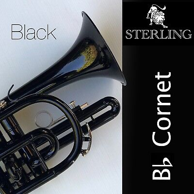 BLACK Sterling Bb CORNET • With Case • BRAND NEW • Pro Quality •