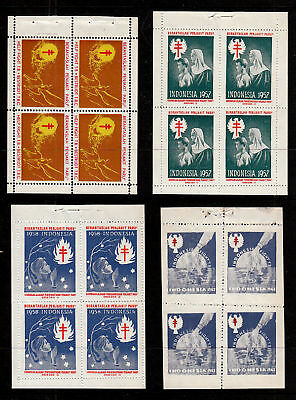 Indonesia Christmas Seal Booklet Panes 1953-1965