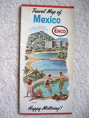 1963 HUMBLE OIL, ENCO, MEXICO HIGHWAY ROAD MAP