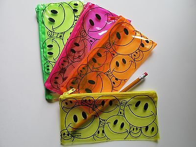 12 SMILEY FACE PENCIL CASES smile happy face school supplies teacher students