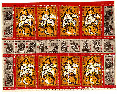 1957 Mexico Christmas Seals Full Sheet - MNH !