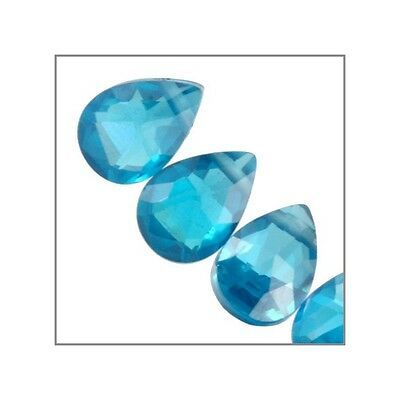 6 CZ Pear Drop Briolette Beads 5x7mm Swiss Blue #64668