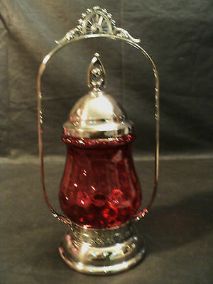 19th C. CRANBERRY GLASS PICKLE CASTOR SILVERPLATE STAND