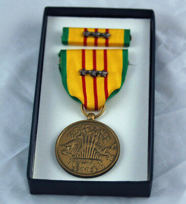 Vietnam Service Medal - 3 Campaign Stars Dated 1969