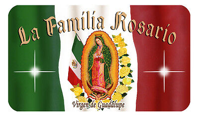 Mexican Flag Our Lady Decal Bumper Sticker Personalize Any Text Name Latino