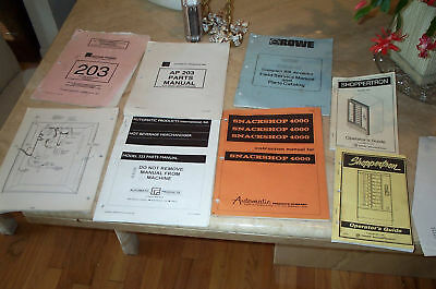 Service, parts, and operating manuals various vending