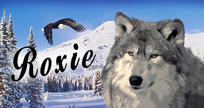 "Wolf Eagle Decal Bumper Sticker Personalize Name Text 3.5"" x 6"" Wolves Eagles"