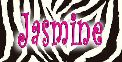 """Hot Pink Zebra Design Decal Sticker Personalize Name Text Any Color 3.5"""" x 6"""""""