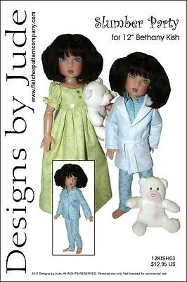 "Slumber Party Doll Clothes Sewing Pattern 12"" Bethany Kish Designs by Jude"