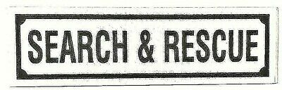 """SEARCH AND RESCUE Highly Reflective Decal - Black -1 1/4"""" x 4 1/4"""" SAR Decal"""