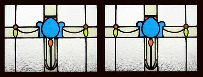 Beautiful Pair Blue Edwardian Antique English Stained Glass Windows • CAD $1,763.12