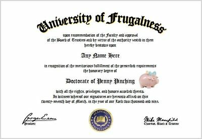 Penny Pinching Diploma - Frugal Penny Pincher Diploma