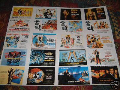 James Bond 20 Postcard Uncut Sheet 007 Sean Connery Roger Moore Lazenby