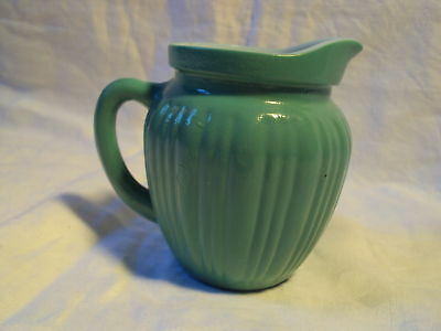 small Antique GREEN & WHITE GLASS Creamer PITCHER