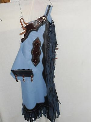 New Usa Made Leather Rodeo Chaps Dark Navy/baby Blue Color