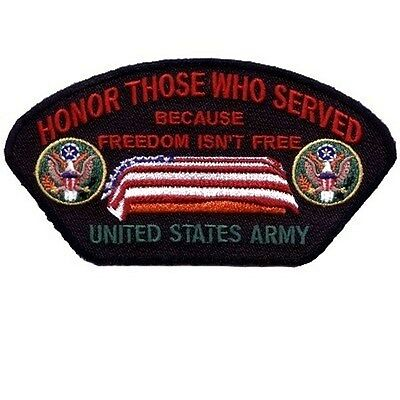 Honor Those Who Served ARMY VET Biker Ball Cap POW Military War Patch PAT-0823