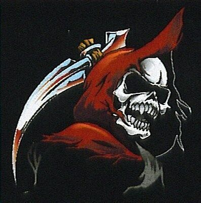 BACK PATCH REAPER SKULL HEAD Embroidered Funny Motorcycle MC Biker Vest LRG-0188