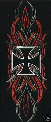 BACK PATCH PINSTRIPE CROSS Embroidered For Motorcycle MC NEW Biker Vest LRG-0191