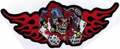 BACK PATCH JESTER FLAMES SKULL Embroidered For Motorcycle MC Club Biker LRG-0202