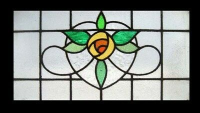 Golden Mackintosh Rose Antique English Stained Glass Window Rare
