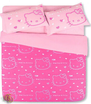 Lenzuola Di Hello Kitty.Set Copripiumino Lenzuola Hello Kitty Una Piazza Fuxia