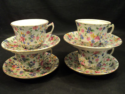 """Set/4 Royal Winton """"old Cottage"""" Chintz Cups & Saucers"""
