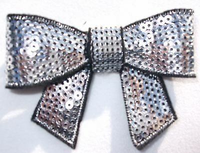 fabric sequin sil B BOW iron-on HOTFIX patch applique