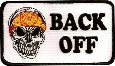 BACK OFF SKULL Embroidered FUN Motorcycle MC Club NEW Biker Vest Patch PAT-0128