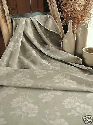 Vintage French TICKING damask fabric floral