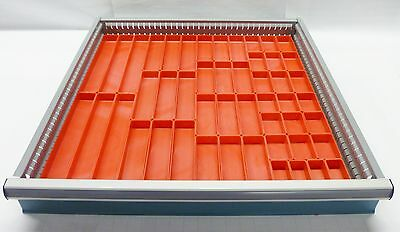 "49 Schaller Red Plastic Boxes fit Lista Vidmar & Lyon 1"" ht Drawer Bin Cups"