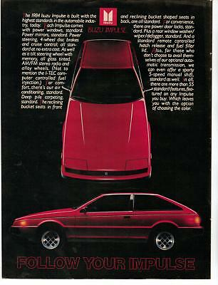 Vintage 1984 Isuzu Impulse Car Magazine Magazine Print Advertisement Page Nice