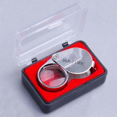 Silver 30 x 21mm Jewelers Loupe LOUPE Magnifier Magnifying Glass in Storage CASE