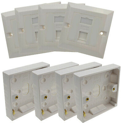 4 x Single Socket RJ45 Cat5E Face Plates & Back Boxes