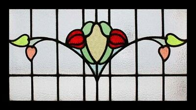 Pretty Buds Of Spring Art Nouveau Antique English Stained Glass Window