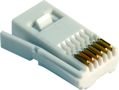 10 x BT Telephone 6 wire Line Plug End White/Business