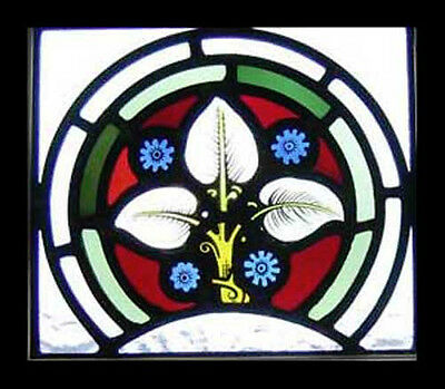 Pretty Floral Victorian Painted Antique English Stained Glass Window