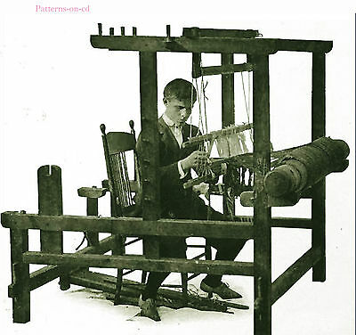 Edwardian foot power floor loom plan weaving pattern CD