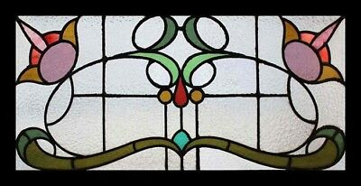 Beautiful Art Nouveau Floral Antique English Stained Glass Window