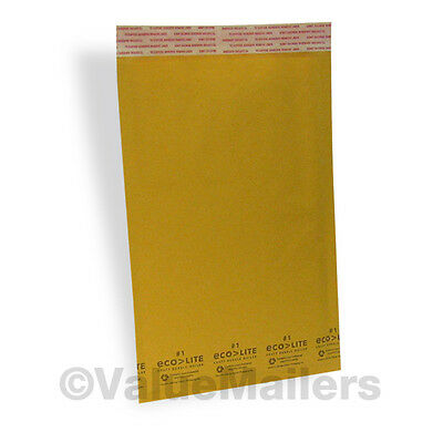 100 #1 7.25x12 Kraft USA Ecolite Bubble Mailers Padded Envelopes Bags Self Seal