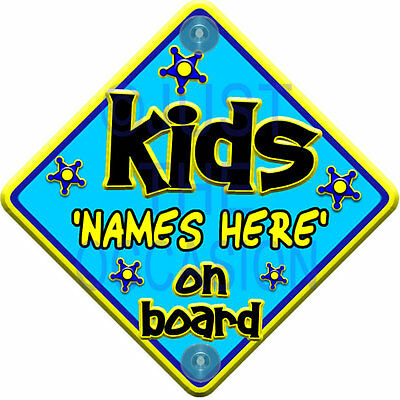 PERSONALISED FUNKY Blue & Yellow ~ KIDS ~ Baby on Board Car Window Sign